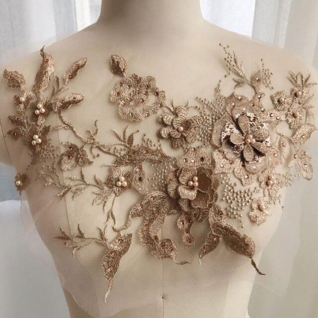 Outil de couture 3D Tulle strass | Bricolage, broderie faite à la main, appliques de fleurs perlées, tissu dentelle pour mariée, accessoires perles