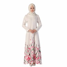 New Ethnics Muslim Womens Fashion Floral Printed Abaya Dress Dubai Islamic Clothing Style Long Sleeves Women A Line Dresses
