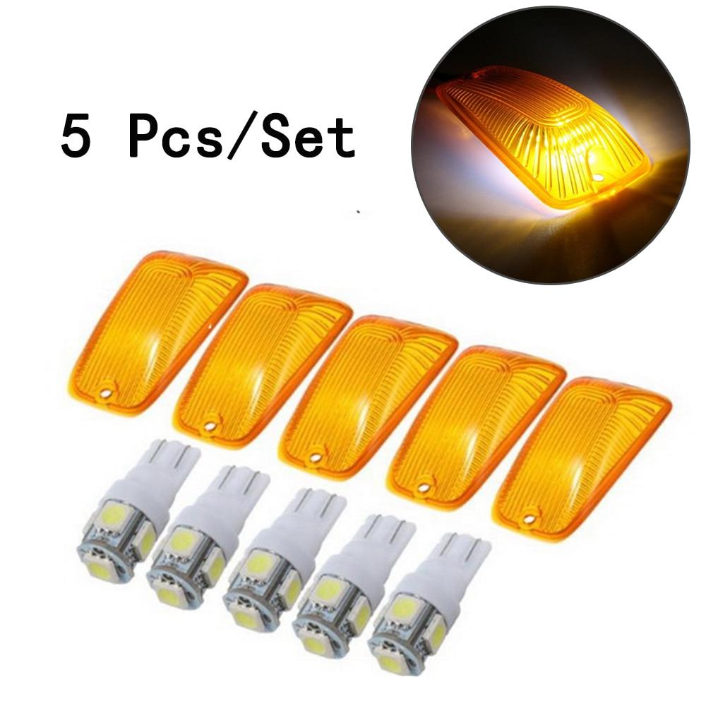 Piranha White LED Amber Cover 5pcs/set Cab Roof Running Marker Lights For Chevrolet/Kodiak/GMC/Topkick/ Smoked Lamp 12V 6W Car