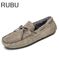Hot Sale Men Shoes Big Size 38 45 Leather Men Driving Shoes Warm Fur Brown Loafers