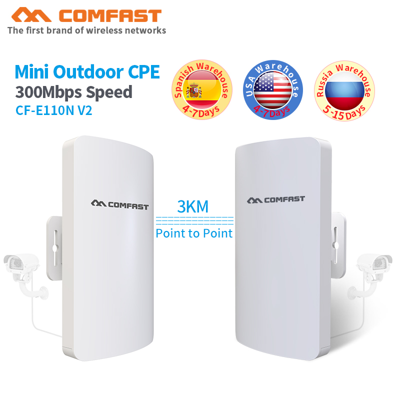 2pcs 1-3KM Long range Comfast CF-E110N Outdoor Mini CPE Wireless WIFI Extender Repeater 300Mbps WiFi Router Bridge Nanostation