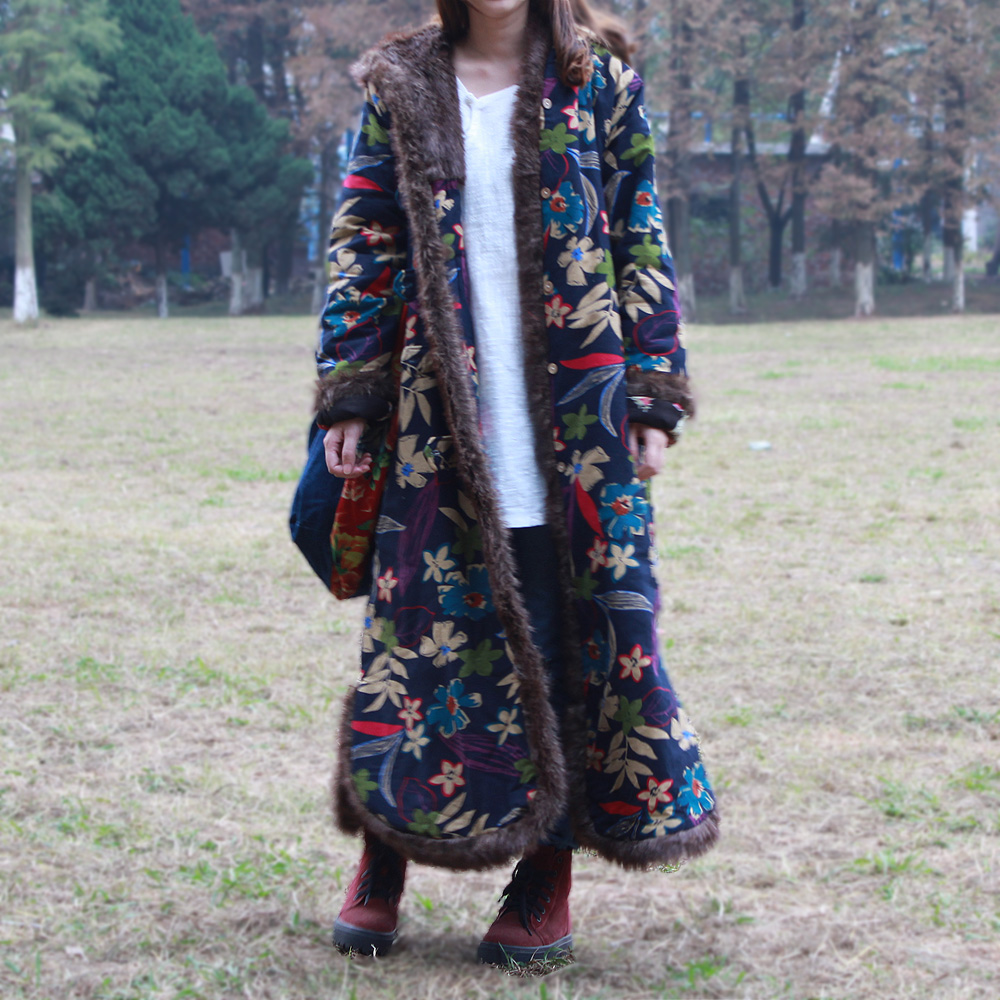 National trend fur collar with a hood long trench overcoat long design coat cotton padded jacket