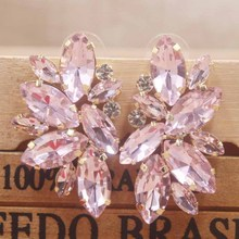 Zerong PInk rhinestone stud earring gold crystal silver rose women blue/red/ wedding /party deoration
