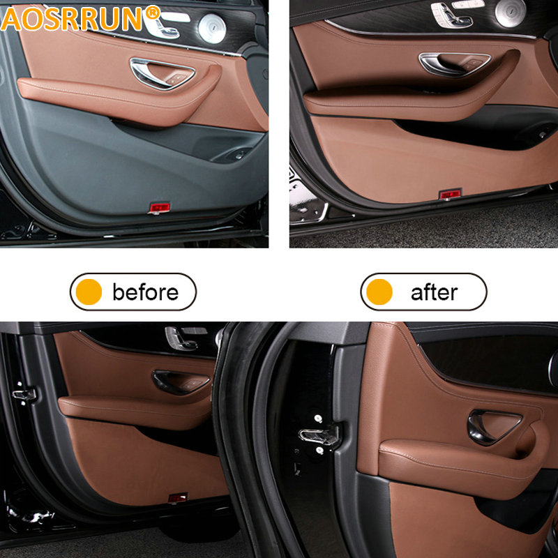 AOSRRUN Car door leather Anti-Scrape Cover Stickers Car <font><b>Accessories</b></font> For <font><b>Mercedes</b></font> Benz <font><b>E</b></font>-<font><b>Class</b></font> <font><b>W213</b></font> E200 E300 E320 2016 <font><b>2017</b></font> image