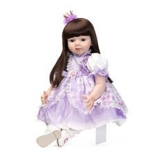 Realistic Baby Doll Sweet Princess Doll 28 inch Gentle Touch Vinyl Lifelike Reborn Baby Dolls in Purple Dress