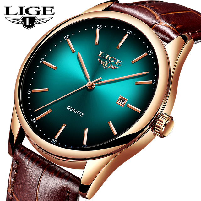 <font><b>LIGE</b></font> Mens Watches Top Brand Luxury Date Clock Leather Waterproof Quartz Watch Men Wristwatch Relogio Masculino Montre Homme+Box image