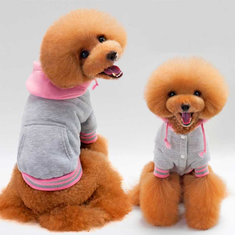 Cute Pets Dog Hooded Soft Cotton Coat Clothes Puppy Winter Warm Clothing TB Sale