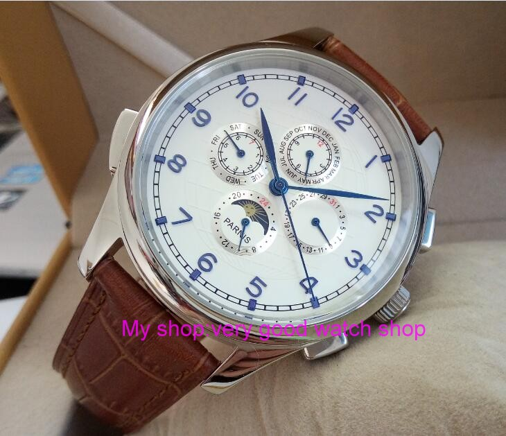 лучшая цена 44MM PARNIS Automatic Self-Wind movement white dial Blue hands multi-funtion men's watch Mechanical watches wholesale
