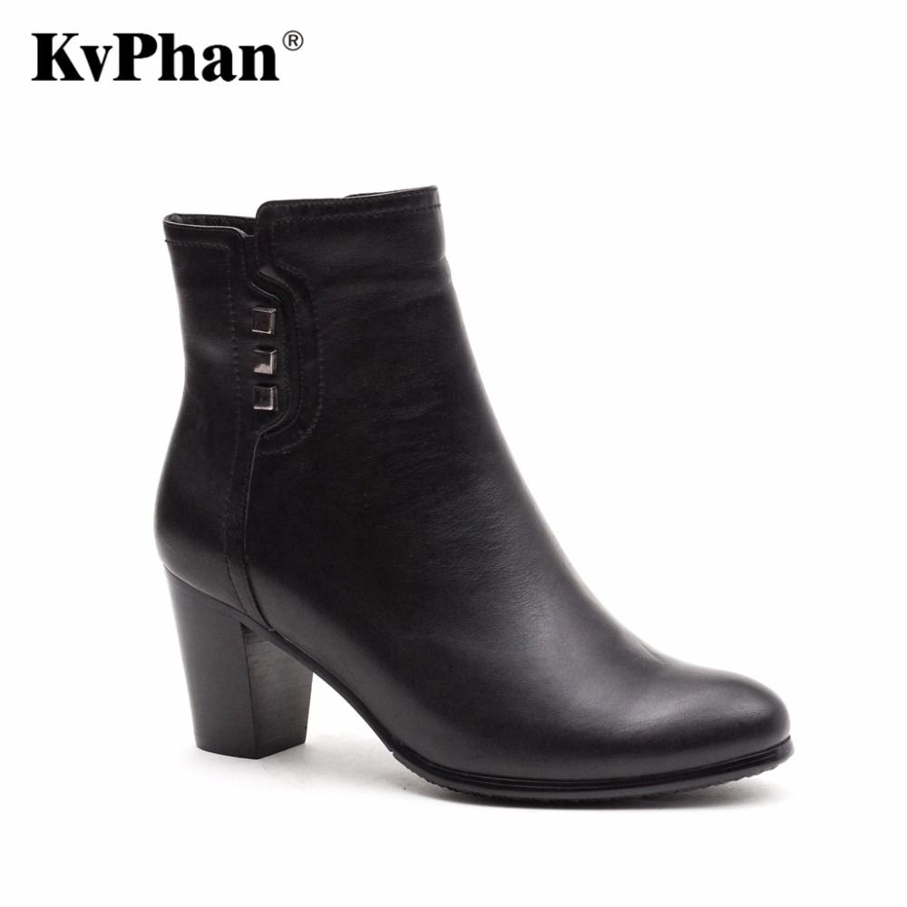 KvPhan Women high heels boots Genuine Full Grain Leather Big size 35-41 High quality brand Office shoe for woman Free shipping new arrival plus size 40 41 popular shoes full grain leather boots high quality retro style round toe women boots free shipping