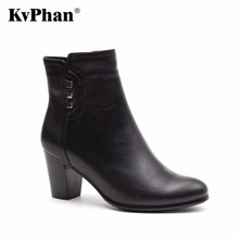 KvPhan Women high heels boots Genuine Full Grain Leather Big size 35-41 High quality brand Office shoe for woman Free shipping