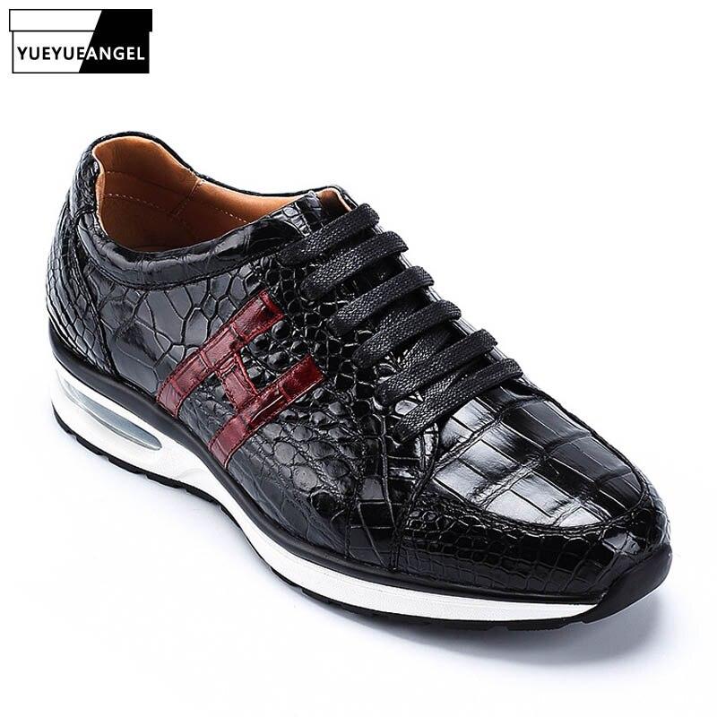 Corredores Dos Homens Tênis de Marca de Qualidade Superior de Couro de Jacaré Crocodilo de luxo de Couro Genuíno Sapatos Sapatilhas Sapatos Tenis Masculino