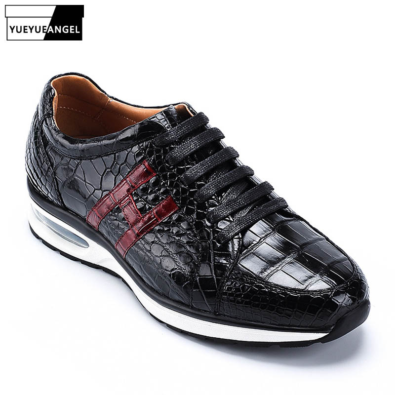 De cocodrilo de cuero para hombre de zapatillas de deporte de marca de calidad superior de cuero genuino de cocodrilo zapatos de Tenis Masculino zapatos