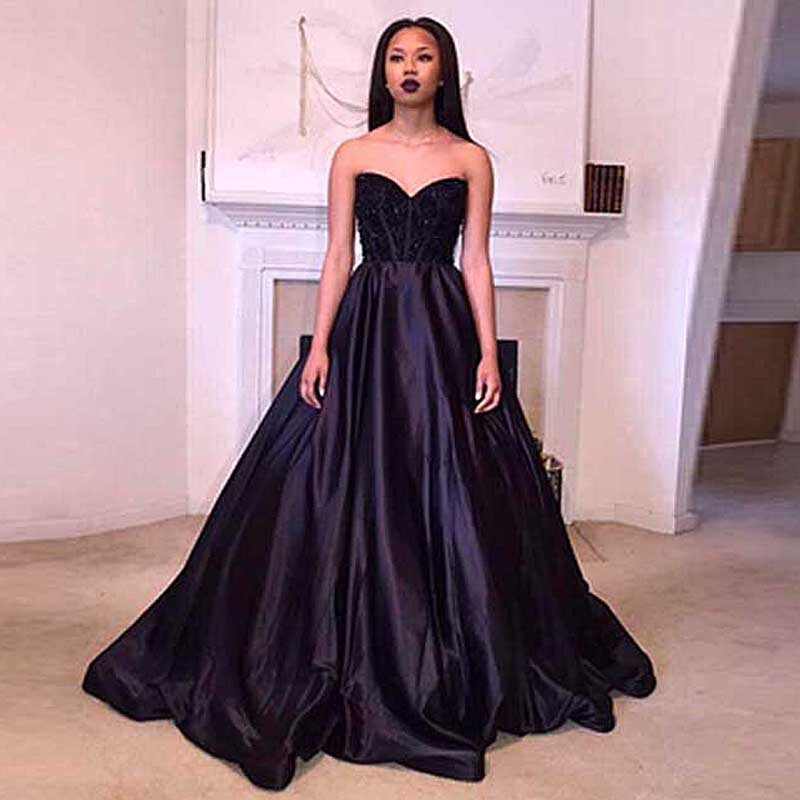 Robes soiree 2017 Black Sweetheart Neck A-Line Long   Evening     dresses   Plus Size Sleeveless Beaded Satin Prom Gown Party   Dresses