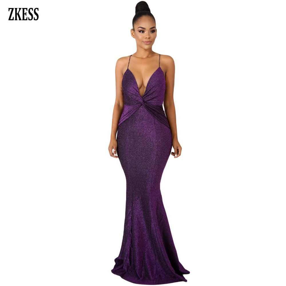 Zkess Women Glister Shine Twist Shoulder Strap Mermaid Dress Sexy Deep V  Neck Backless Zipper Bodycon 77290a97ee35