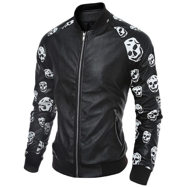 Fashion Men Black Leather Jacket Personalized Trendy Skulls Men New Design Jacket V-neck Leather Jacket Men H7576