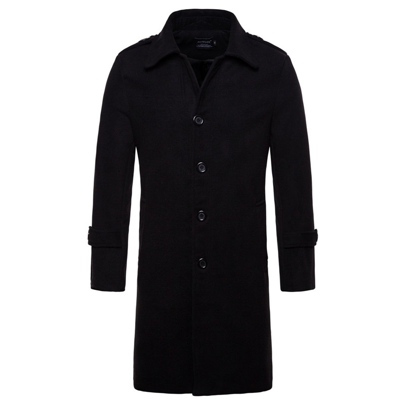 long wool trench coat black
