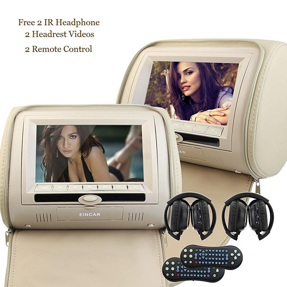 7 2 two Car Monitror Headrest Video DVD Player pillow Digital Screen Leather USB SD IR FM Transmitter Beige Wireless Headphone eincar car 9 inch car dvd pillow headrest two monitor lcd screen usb sd 32 bit game fm ir multimedia player free 2 ir headphones