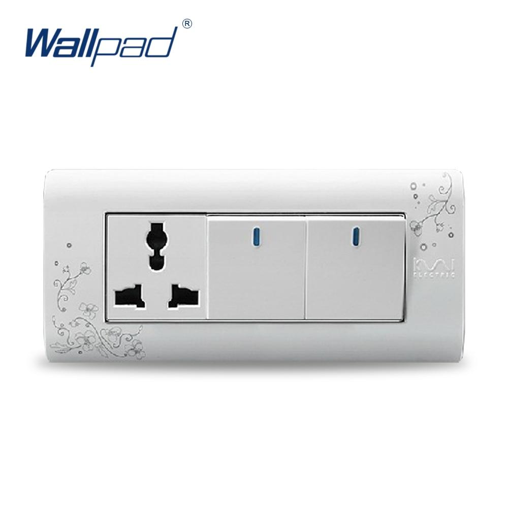 2017 Hot Sale, Wallpad luxury wall switch panel,  2 Gang 3 Pin  Socket, Plug, Socket, 154*72mm, 10A, 110~250V  free shipping wallpad luxury wall switch panel 6 gang 2 way switch plug socket 197 72mm 10a 110 250v