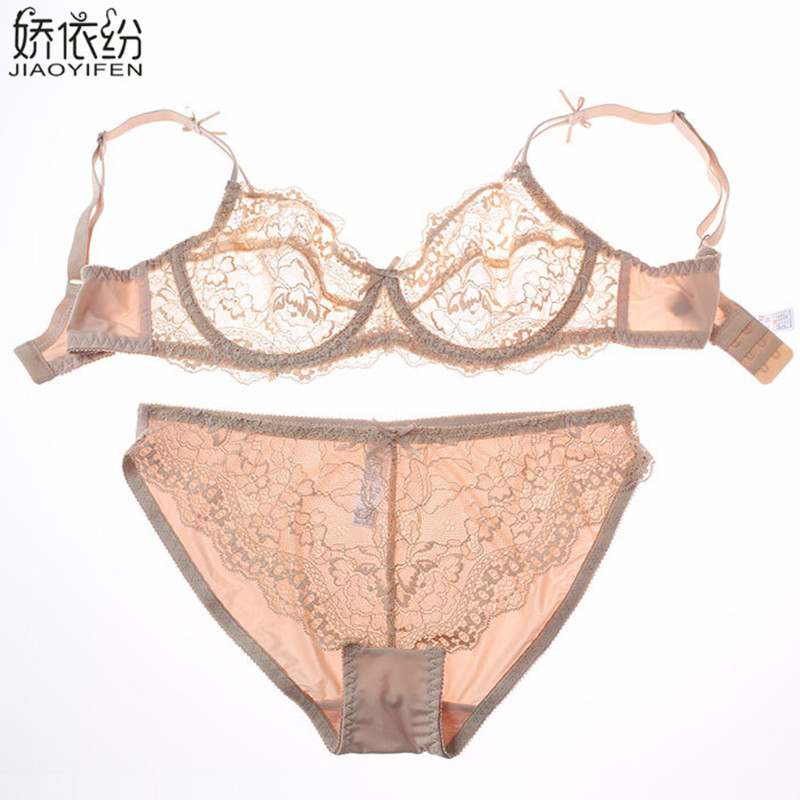 JYF Hot Sale fashion sexy Bra Set lingerie victoria women ultra thin bra brief sets breathable lace sexy panty bra clothing set
