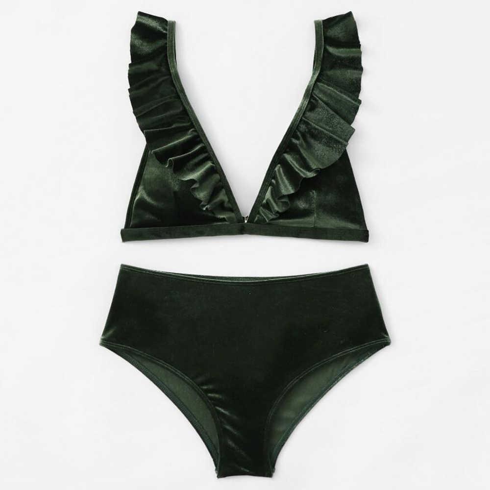 בגדי ים קטיפה גבוהה מותן בגד ים מוצק Reffle ביקיני סט חליפת שחייה לנשים בגד עשוי מתרחצים וחוף