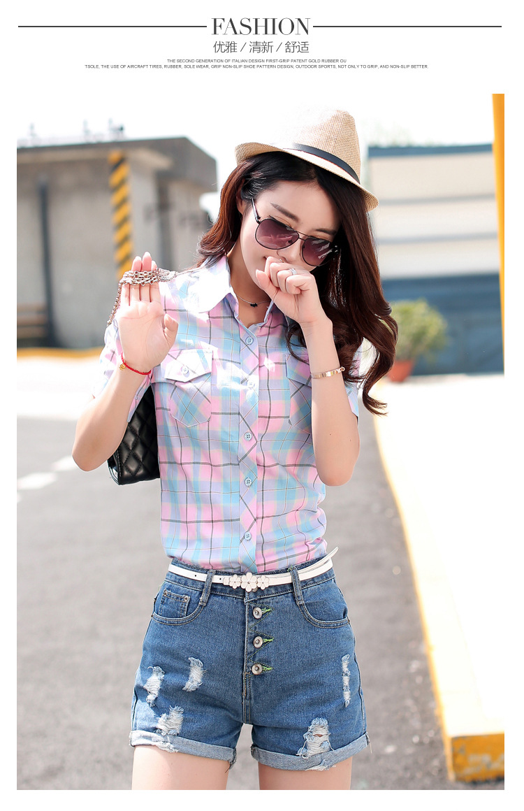 HTB13urwHFXXXXcwaXXXq6xXFXXXw - New 2017 Summer Style Plaid Print Short Sleeve Shirts Women