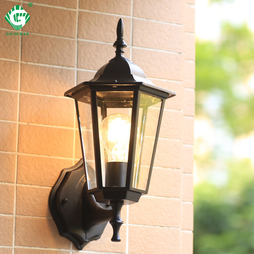 Vintage wall lamp outdoor lighting led street garden villa porch lights waterproof e27 bulb for patio bronze sconce lighting