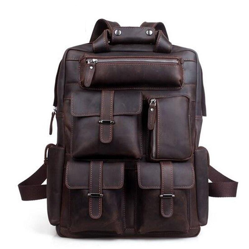 TOP POWER Men Backpack Vintage Business Crazy Horse Brand Genuine Leather Large Capacity Multifunctional Travel Satchel Bags все цены