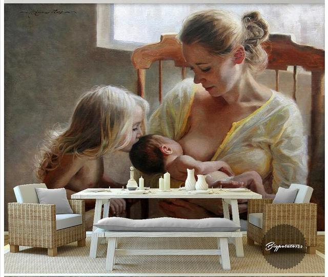 Custom Photo 3d Wallpaper Non Woven Mural Wall Sticker Breastfeeding Mothers To Children Painting