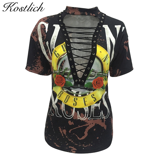 Kostlich 2017 Summer V-Neck Short Sleeve Hollow Out T Shirt Women Sexy Lace Up tshirt Fashion Print Tops Tees Women Clothing