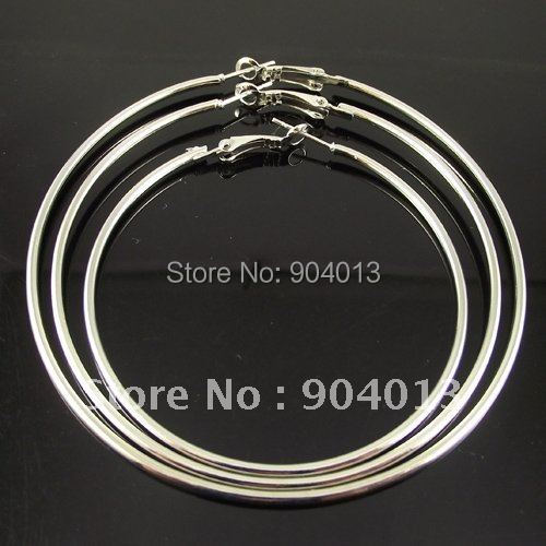 1 Pair 50mm 60mm 80mm 90mm 100mm Hoop Earring Silver Plated Basketball Wives Large Earring Fashion Jewelry