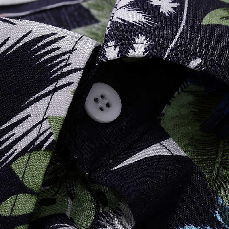 Camisa de manga larga con botones y estampado Floral ajustada para hombre 2019 otoño nueva camisa hawaiana de fiesta con estilo para los hombres