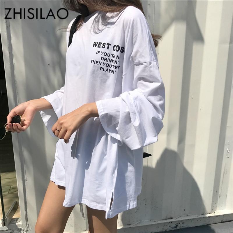 ZHISILAO Long Sleeve Cotton T-shirt Plus Size Women Loose Shirts Casual White Tshirt Autumn 2018 Purple Tee Shirts Oversize Chic