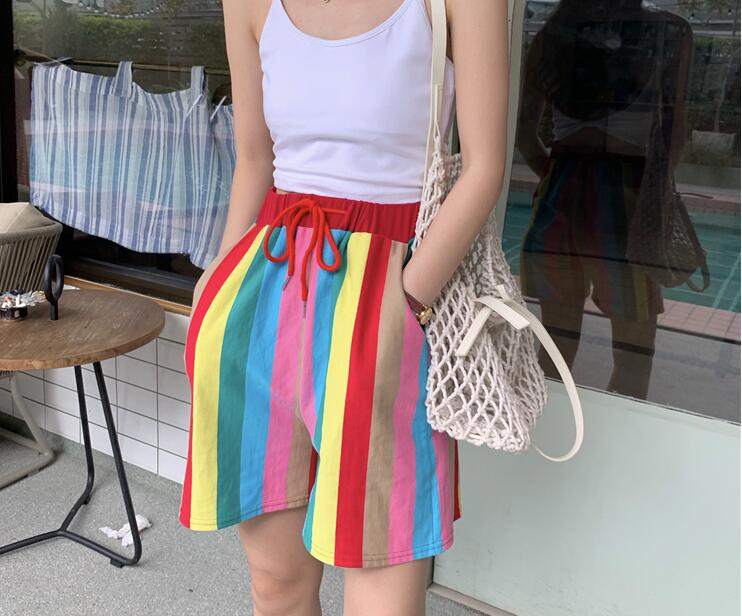 color striped casual rainbow   shorts