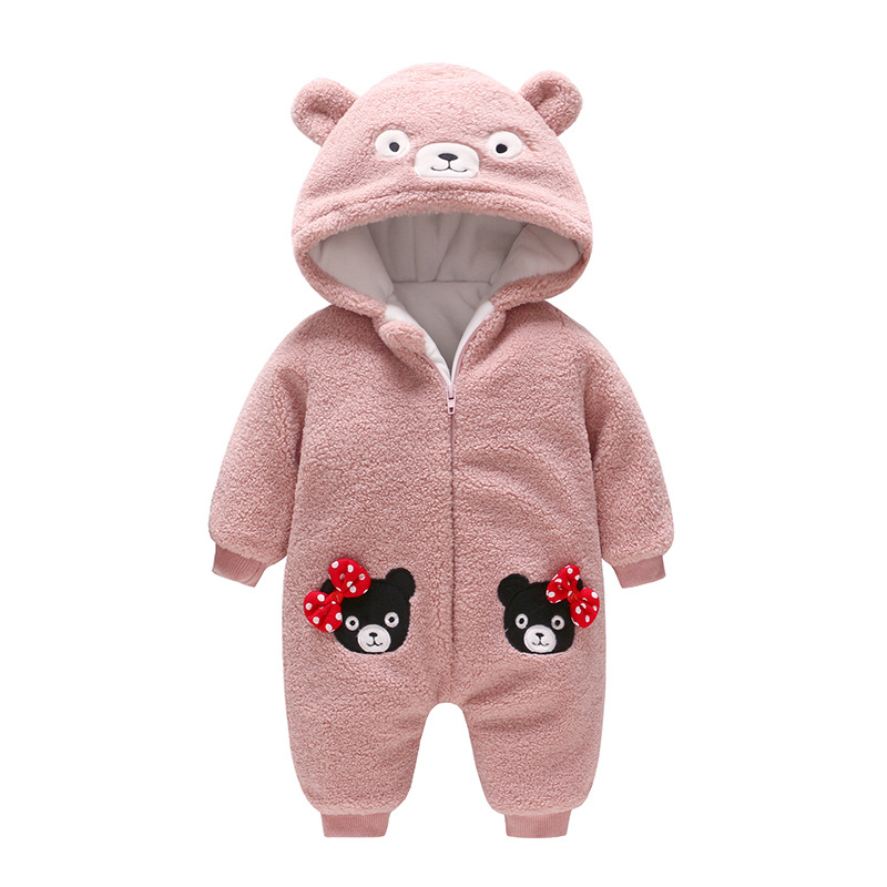Children's Wear The New Winter 2018 Baby Winter Printed Bowknot Bear Baby Romper New Born Baby Girl Clothes