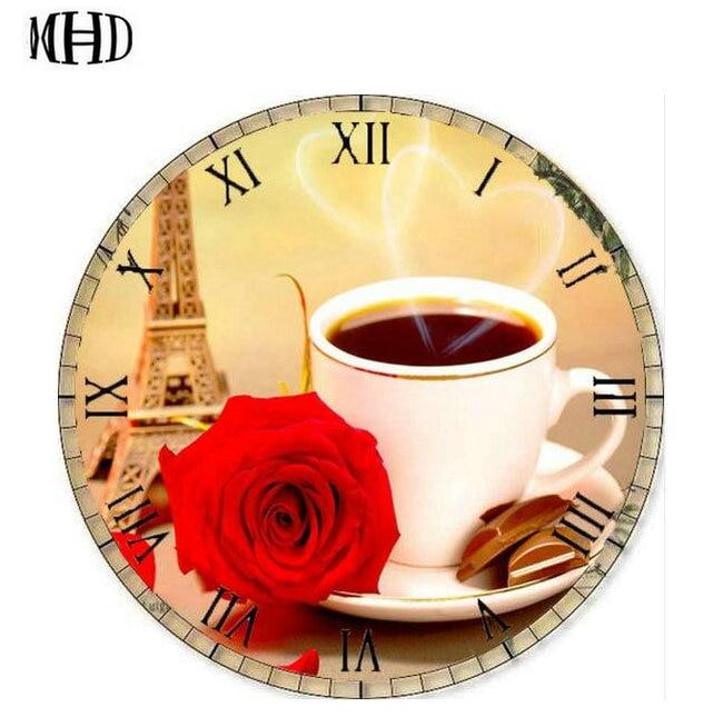МГД, полный 3D алмаз живопись, кофе Роуз часы узор, вышивка крестиком часы значок, круглый бриллиант, выполненные дома decorat ...