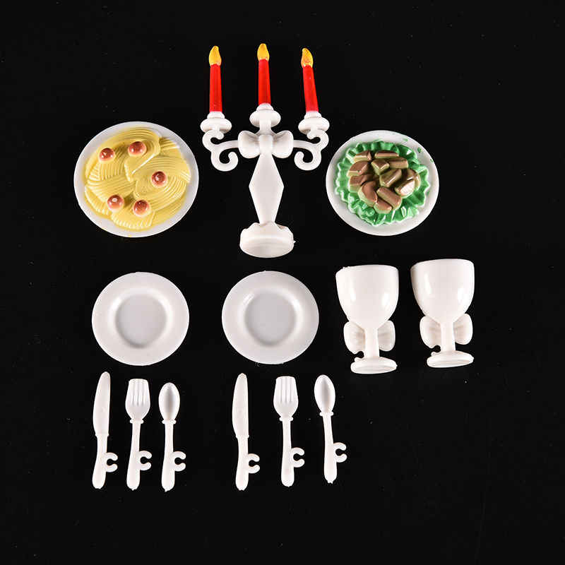 13 Pcs/set Cute dollhouse Candle light Dinner for Doll Tableware Toys Kitchen Toys For for Barbie