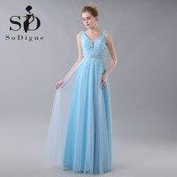 Prom Dress 2016 SoDigne Crystal A Line Elegant Beaded Sexy Rhinestone Deep V Neck Backless Fast