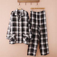 Pajamas Men Autumn Double Layer Yarn Pyjamas 100% Cotton Pajamas Plaid Long-Sleeve Pajama Set Sleep Casual Pyjamas Men Lounge