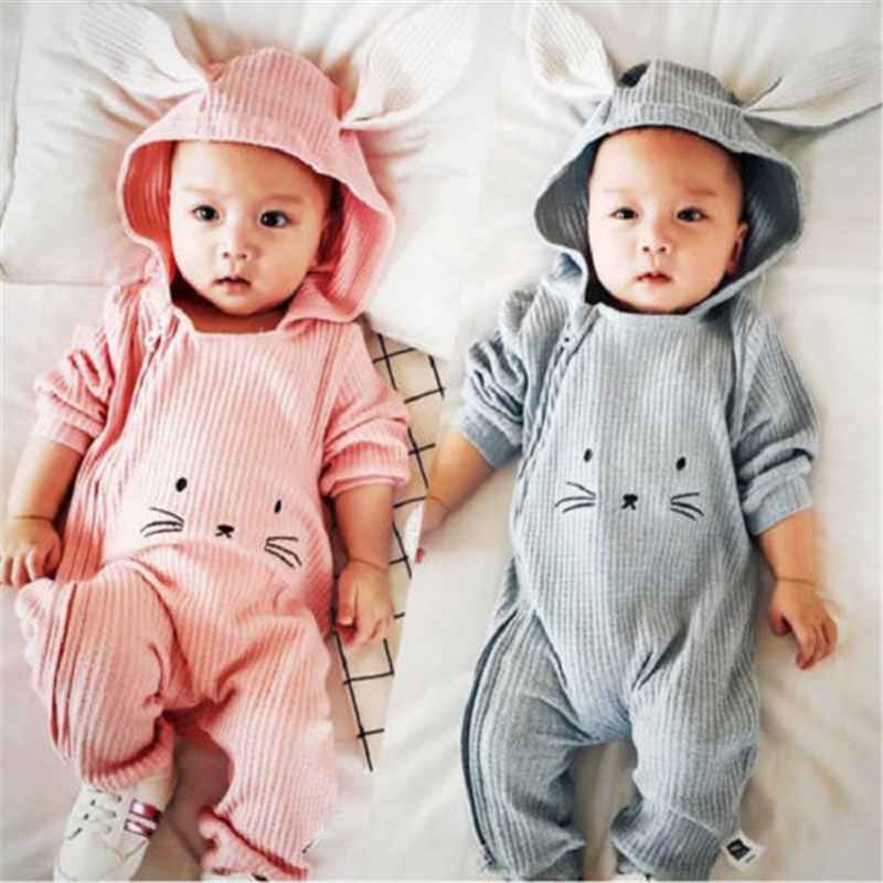 Cute Baby Cartoon 3D Ear Romper Newborn Baby Girl Boy Hooded Long Sleeve Romper 2017 Bebes Jumpsuit Fall Body Suit For Newborns
