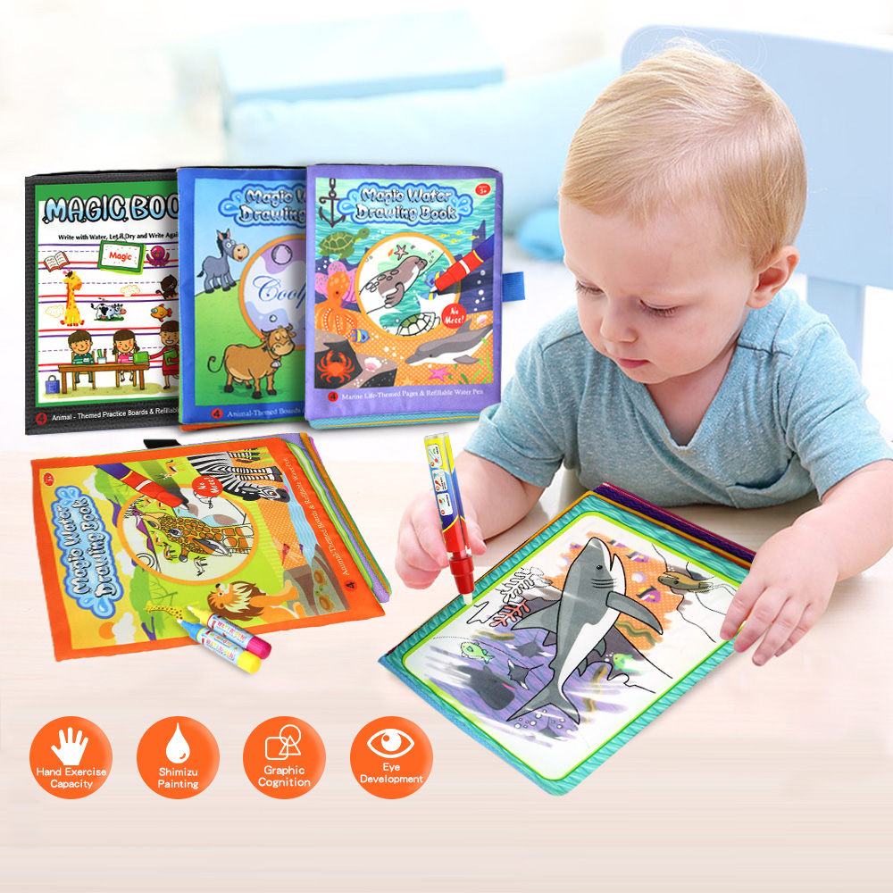 4 Types Magic Water Drawing Books Coloring Book in Drawing Toys Reusable Books Early Learning Toys Educational Toys for Kids(China)