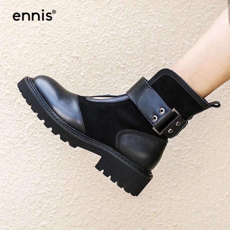 Botas Zapatos Hebilla Negro Femeninos La Otoño De Genuino Ante Vaca Black Nueva Invierno A8187 Mujeres Ennis Del Diseñador 2018 Plataforma Cuero 5FqwCf
