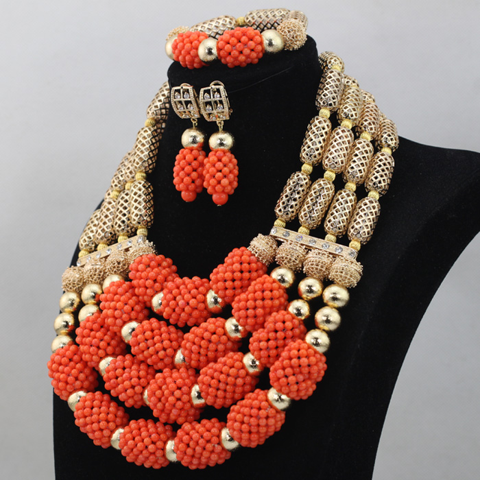 Christmas African Coral Jewelry Beads Set Luxury 4 Step Nigerian ...