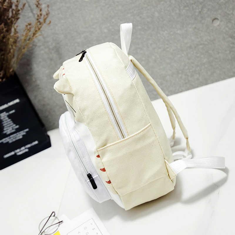 Забавный мультяшный Кот женский рюкзак холст милый кот Женский рюкзак для студентов женский рюкзак Mochila Рюкзак Сумка для женщин 2019