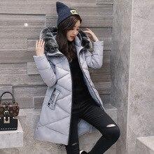 2017 New winter woman cotton long basic jacket women hooded fur collar coats warm manteau hiver femme loose fashion coat jackets