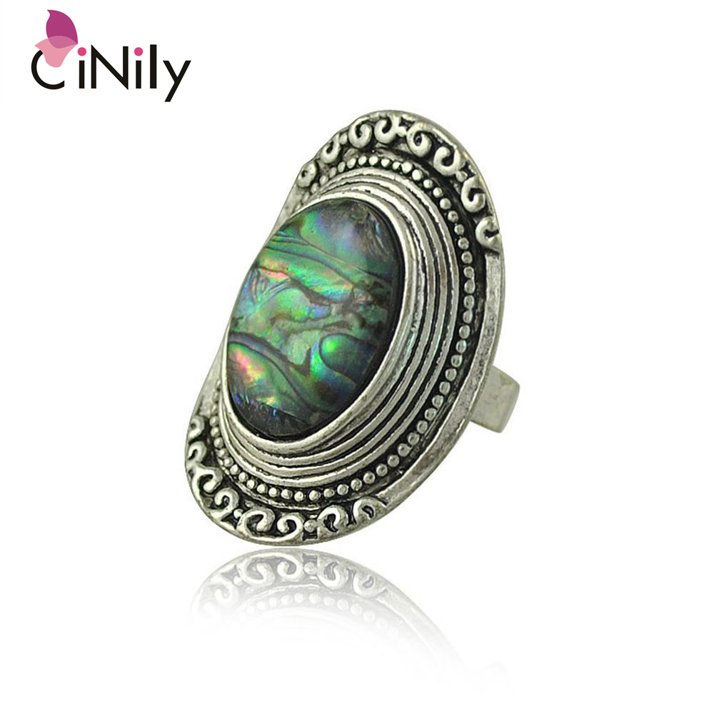 Cinily Abalone-Shell Adjustable Ring Jewelry Silver-Plated Fashion Women for NJ101 Retro
