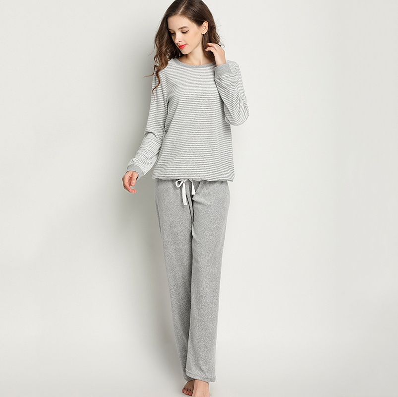 Winter velvet   pajamas   for women round neck stripes tops long pants home suit warm two piece   pajamas     set