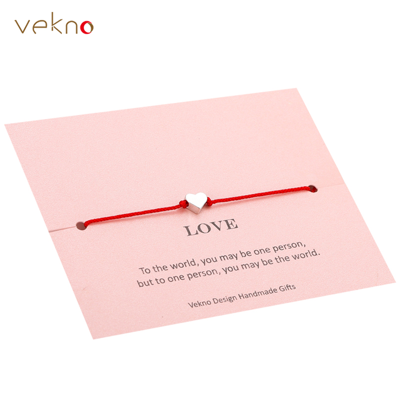 VEKNO Delicate Gold Heart Star Crown Bracelet His and Her Adjustable Red String Rope Bracelets Family Couple Friendship Gift