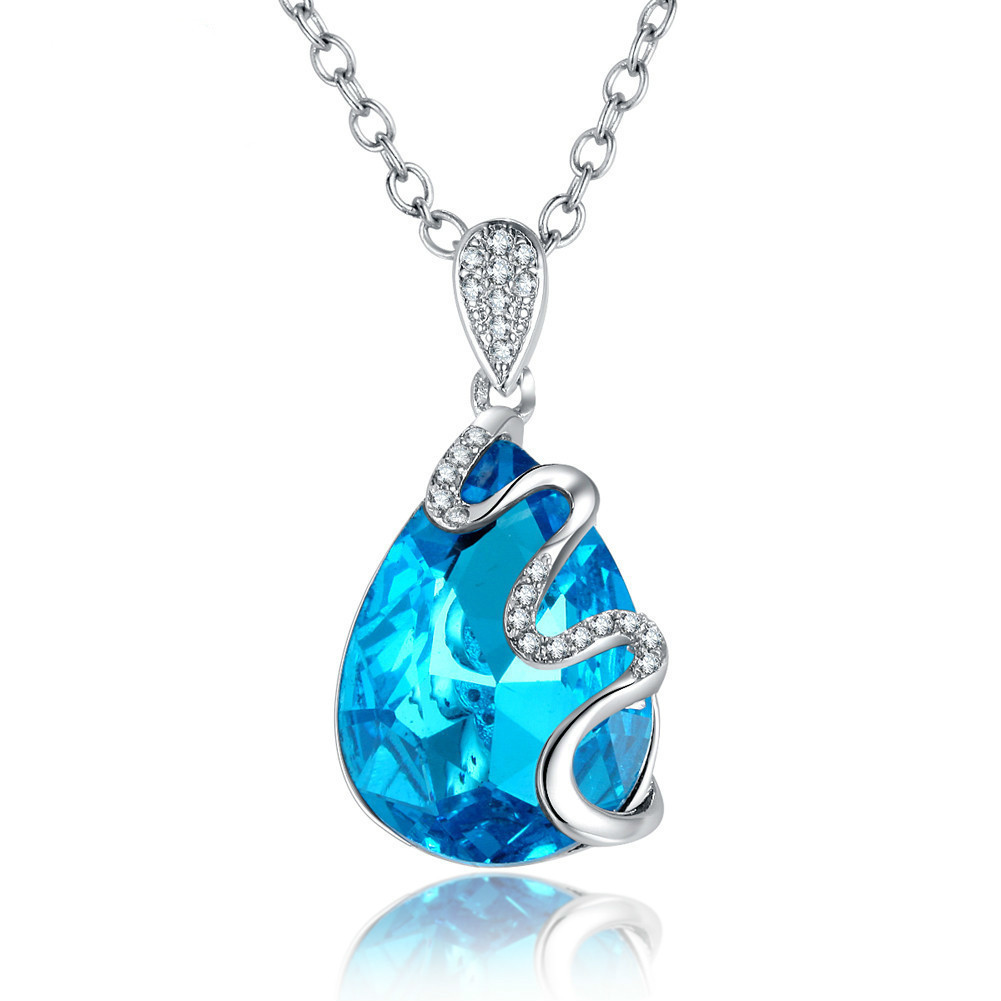 High end Drip Pendant Blue Crystal Necklace Clavicle Chain Woman European Fashion Ornaments Cross border Goods A014 xianglian