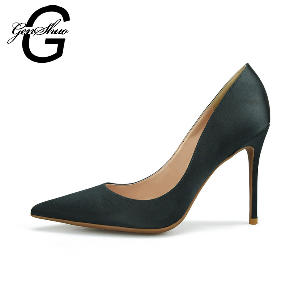 GENSHUO High Heels Ladies Shoes Women Pumps Pointed Toe Stiletto Silk Red Wedding Shoes Plus Small Big Size 32-46 armoire 2015 new elegant women wedding pumps black red purple beige ladies high heels nude shoes ay018 plus big size 32 43 48