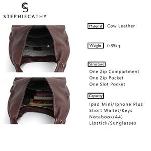 Image 2 - SC Brand Designer High Quality Cow Leather Hobo Women Genunine Leather Shoulder Bag Ladies Large Soft Casual Handbag Zip Purse